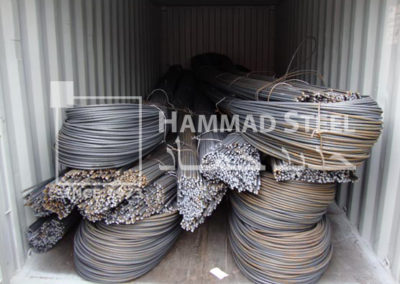 Loaded Container with Steel Rebar Bundles